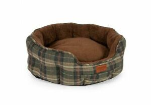 ANCOL-HERITAGE-GREEN-CHECK-OVAL-DOG-BED