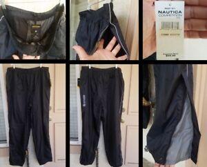 NEW-59-men-XXL-NAUTICA-COMPETITION-black-nylon-pant-tall-winbreaker-mesh-lined