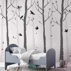Details About Birch Tree Nursery Stencil Set Paint Walls Forest Birds Wall Decor