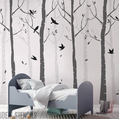 Birch Tree Nursery Stencil Set Paint Walls Forest Birds Wall Decor Ebay