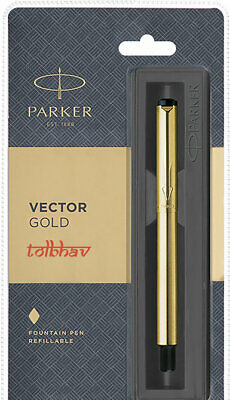 Black Ink Fountain Pen GT Parker Vector Gold Plated Gold Trim Blue Ink