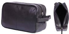 Real Leather WASH BAG For Mens Travel Toiletries Shaving Kit Cosmetic Bag Black