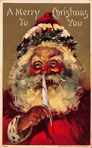 Santa-Claus-with-Big-Beard-amp-Quill-Pen-Antique-Embossed-Christmas-Postcard-c387