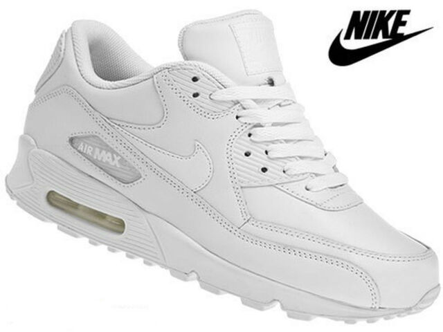 Nike Air Max 90 WMN Sz 11 312052-117 White Leather Running Shoes Old School  for sale online  21eee6c6d