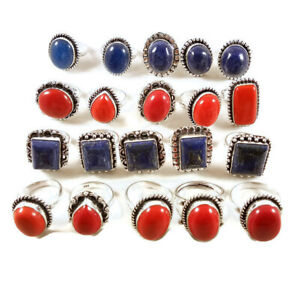10 Pcs Lot Blue Lapis Red Coral Mix 925 Sterling Solid Silver Rings BR-26