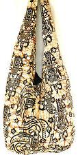 Sac Bandoulière Ethnique Sac à Main Coton Besace Batik Hippie blanc/écru noir