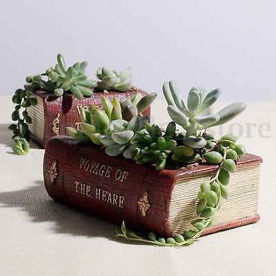 Vintage Resin Garden Flower Herb Planter Succulent Pot Book Trough Box Plant Bed