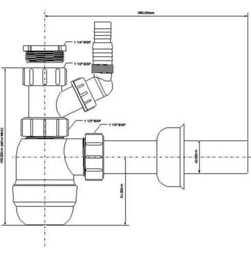 """McAlpine Sifon Flaschensiphon 1.1 4/"""" x 32mm Siphon mit Geräteanschluss Bad /& K"""