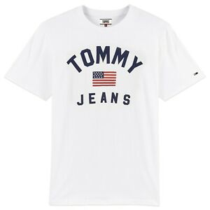 Tommy-Hilfiger-T-Shirt-Tommy-Jeans-USA-Flag-Logo-Tee-White-BNWT
