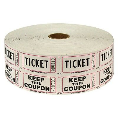 50/50 Carnival Raffle Tickets 2000/roll - 2-Part Double Roll - 8 Colors