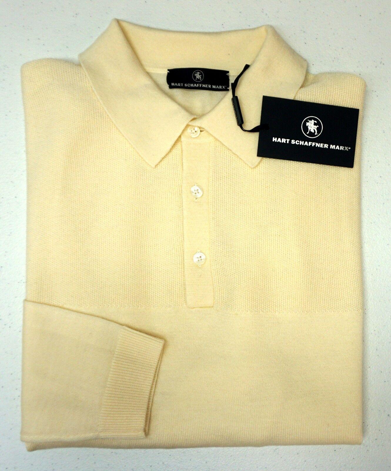 NWT 150 Hart Schaffner Marx LS Polo Sweater  Herren Größe M 100% Merino Wool Ivory