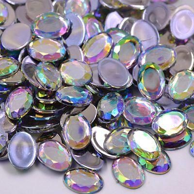 AB Crystals Flatback Rhinestones GLUE On Acrylic Stones OVAL 13 MM 18 MM