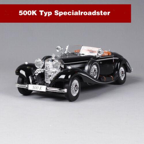 Maisto 1:18 Mercedes Benz 500 K Typ Specialroadst Diecast Car Model Black W//BASE