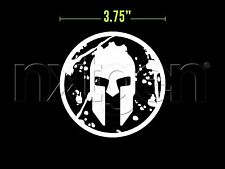 (2x) Spartan Helmet Race Gladiator Sticker Vinyl Decal White