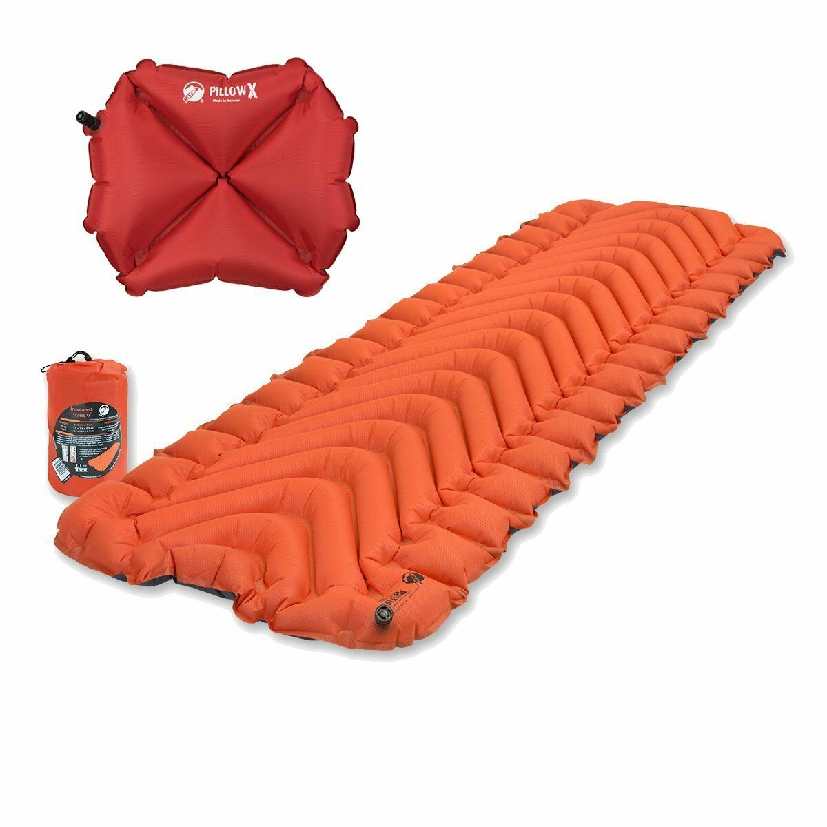 Klymit Insulated Static V orange Sleeping Mat Travel Pad w  Pillow X Red