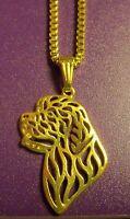 Newfie Newfoundland Saint St Bernard Dog Necklace Pendant Gold Tone