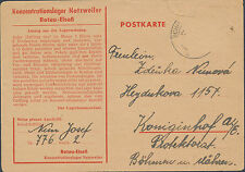 1942 Germany France Natzweiler Concentration Camp Postcard Cover to Bohemia