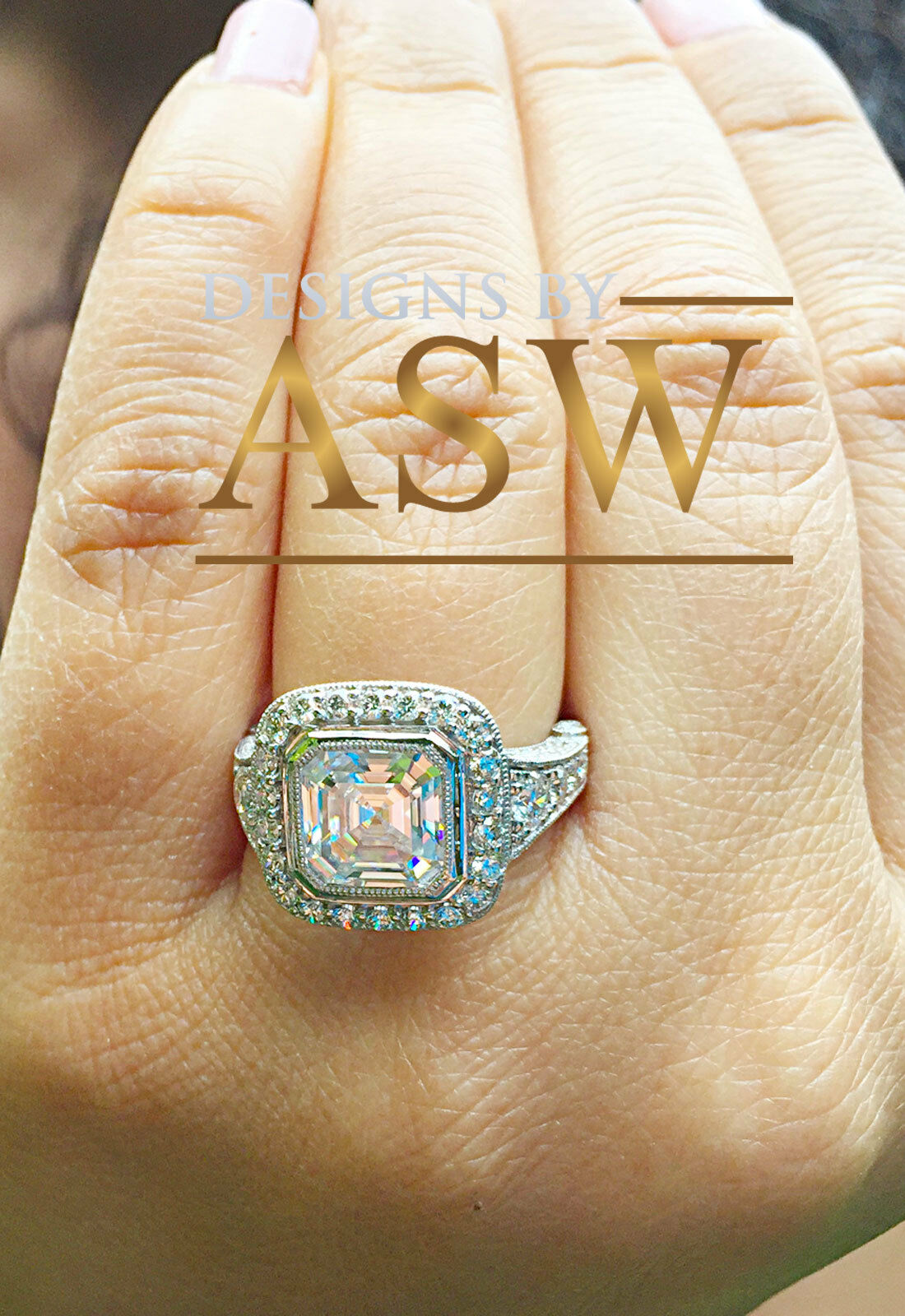14k Solid White gold Asscher Cut Diamond Bezel Engagement Ring Bridal 4.50ctw