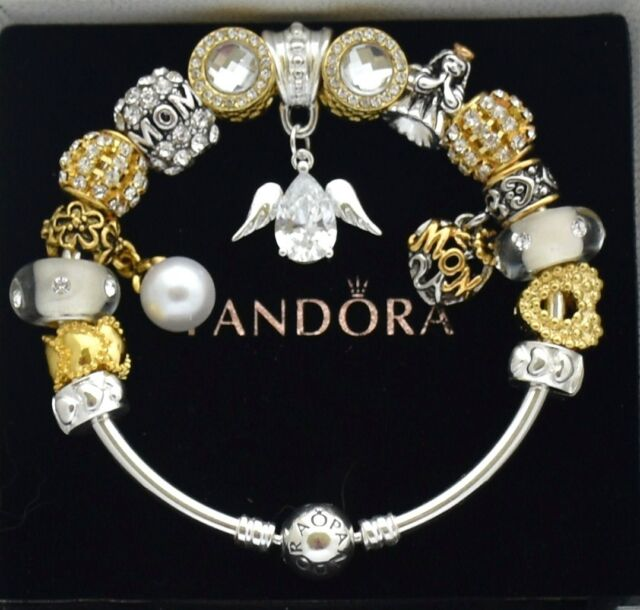 Pandora Charm Bracelet Silver Guardian Angel Gold Family Czech European Charms