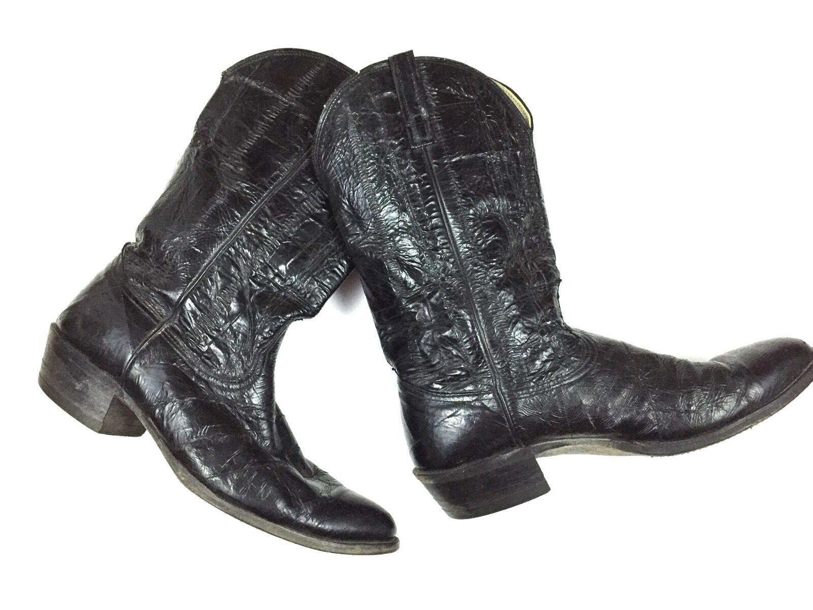 Mens Vintage Nocona Cowboy Boots 9D Black Leather