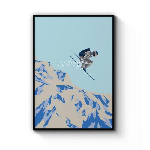 Retro Skiing Poster Vintage Ski Chalet Winter Snow Sport Art Print - Framed
