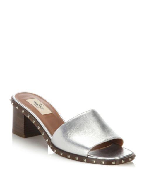 NIB  Valentino Garavani Rock Stud Metallic Clogs Sandals, Dimensione 7,5  in vendita scontato del 70%