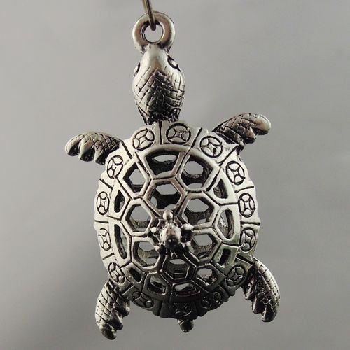 4 PCS Antiqued Silver Tone 3D Hollow Ancient Coin Turtle Pendant Charm 08397