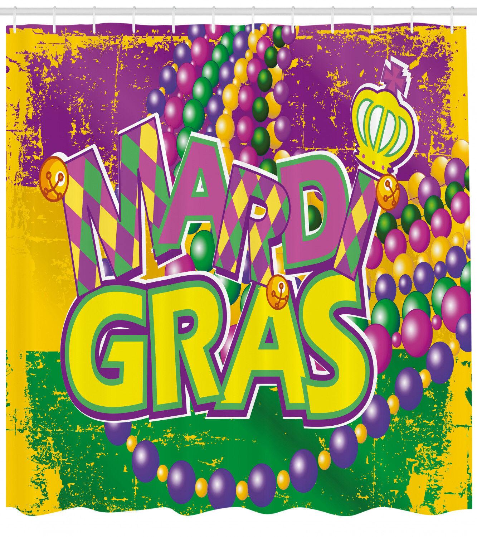 Mardi Gras Shower Curtain Grunge Beads Letters Print For Bathroom 84 Extralong 5024cb