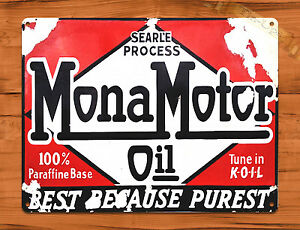 "/""Mona Motor Oil/"" Rustic Garage Wall Decor Man Cave TIN SIGN"