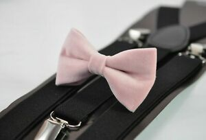 Blush-Dusty-Pink-Velvet-Bow-tie-Black-Elastic-Suspenders-for-Men-Youth-Boy