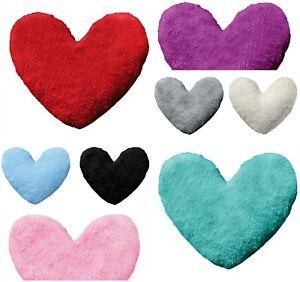New-In-Cuddly-30cm-Teddy-Fleece-Heart-Shape-Fluffy-Filled-Cushions-Home-Decor