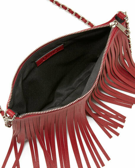 Posse Dara Fringe Leather Crossbody Bag, Crimson … - image 2