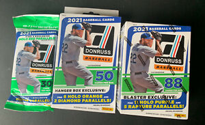 2021 Donruss Baseball Lot! 1 Blaster Box, 1 Hanger & 2 Cello-Fat/Value Packs