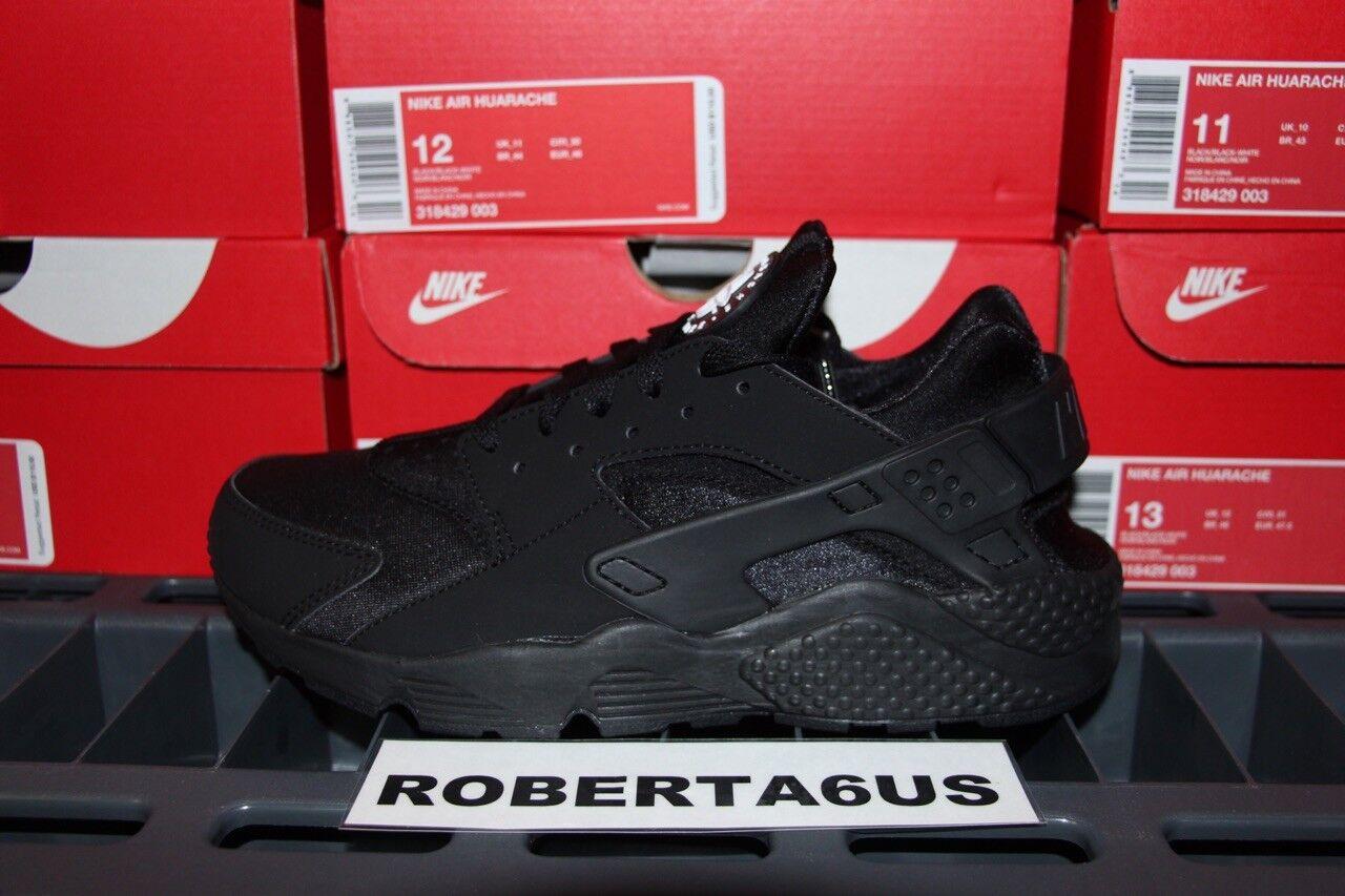 Mens Nike Air Huarache Triple Black Blackout New Sale Running 318429-003