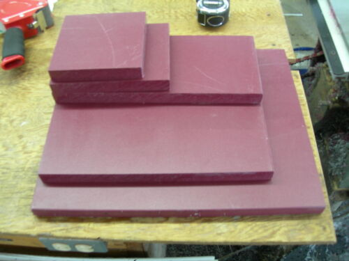 "HDPE MACHINABLE PLASTIC SHEET 15//16/"" X 8"" X 2-3//4/"" RED TEXTURED BOTH SIDES"