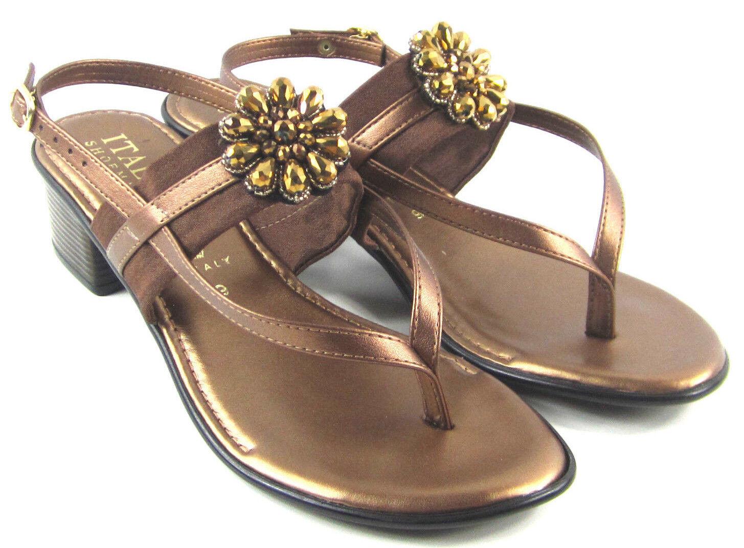 abd0710a3 Italian Shoemakers Lovely Bronze Metal Rhinestone Sandals Womens Sz ...