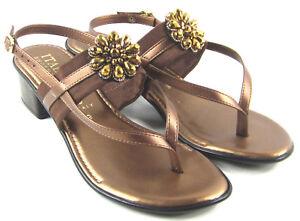 aa8f4da25 Image is loading NEW-Italian-Shoemakers-Lovely-Bronze-Metal-Rhinestone- Sandals-