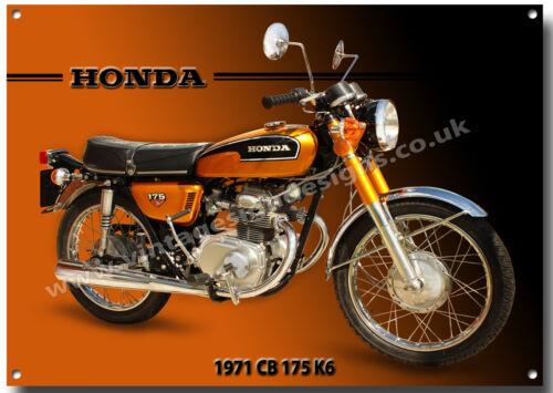 HONDA CB 175 K6 MOTORCYCLE METAL SIGN.1970'S VINTAGE HONDA MOTORCYCLES.