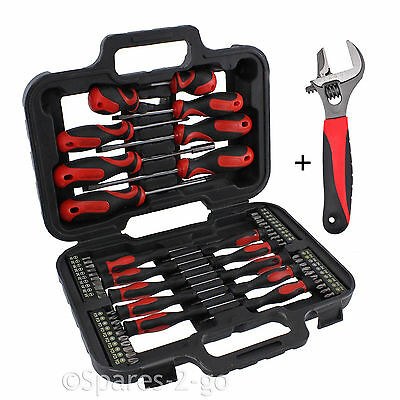Mechanics Screwdriver & Bit Tool Kit + Adjustable Extra Wide Mouth Wrench