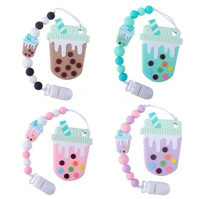 Pacifier Clip Silicone Teething Beads Teether Holder Girls Baby Shower Casual