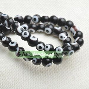 6mm-50pcs-Round-Lampwork-Glass-Crystal-Dots-Charms-Loose-Spacer-Beads-Black