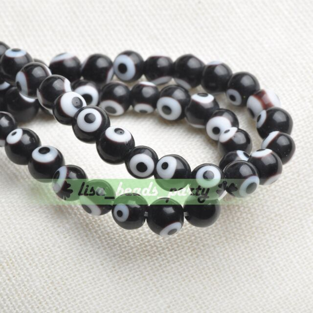 6mm 50pcs Round Lampwork Glass Crystal Dots Charms Loose Spacer Beads Black