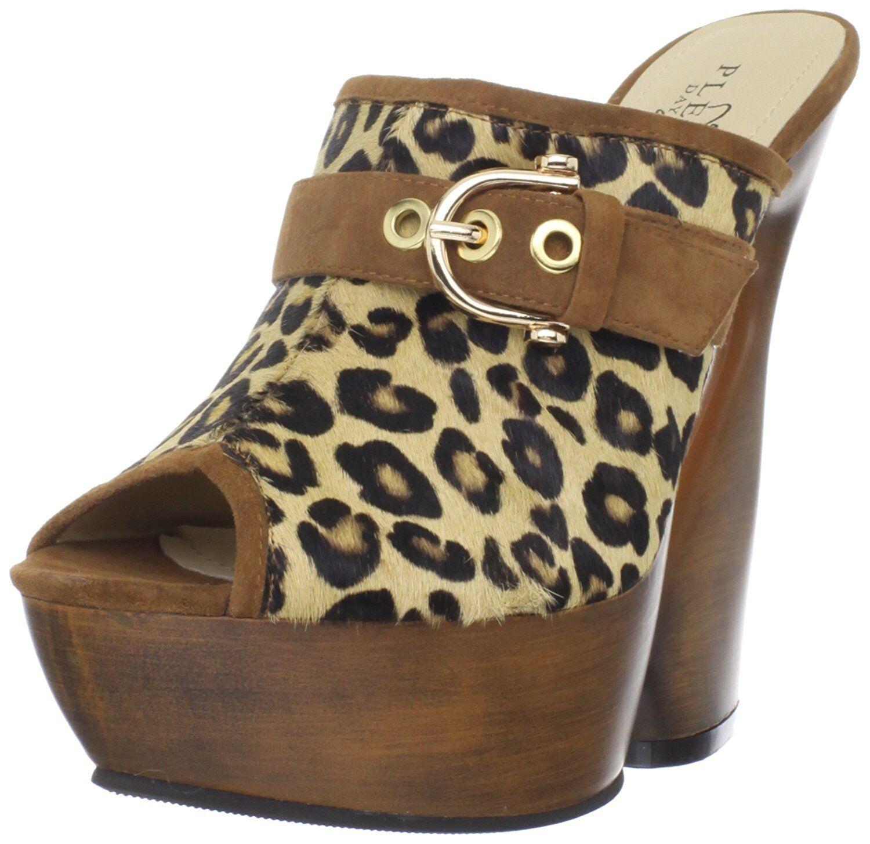 Pleaser Swan-601Lp Ladies Brown Pump Wood Plat Slide Vegan Shoes Sandal
