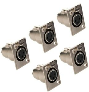 NEW-5-pack-XLR-female-jack-3-pin-microphone-cable-panel-chassis-mount-connector