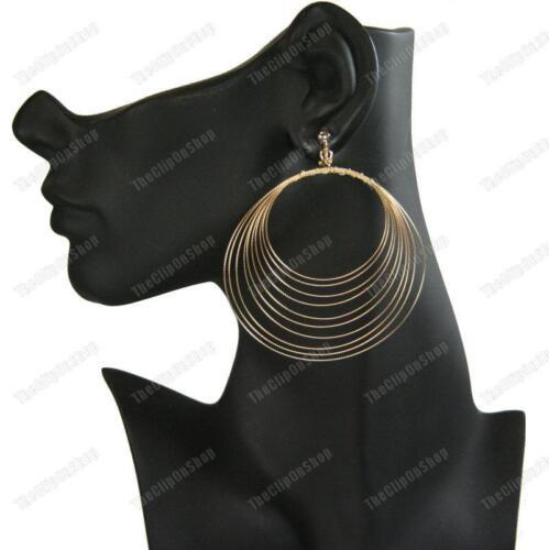 """3 /""""gran Clip en pendientes de aro concéntricos Oro Moda Bobina De Alambre Aros Clips"""