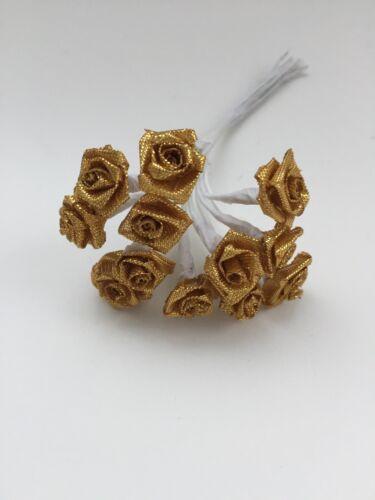 12 X or 1 cm Tige de Fil Ruban Satin Roses Robe de Mariage Fleurs Floral Artisanat