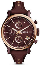 Fossil ES4114 Original BOYFRIEND Sport Chronograph Wine Leather Ladies Watch