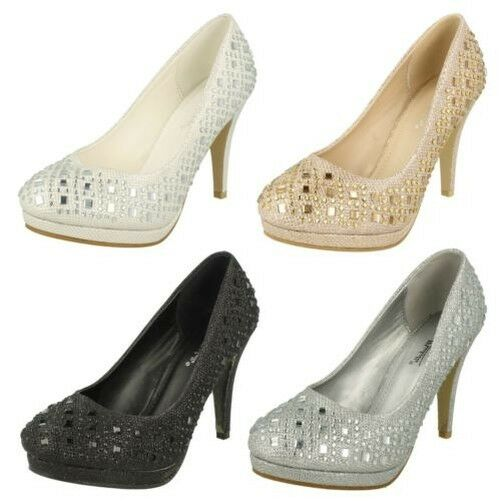 Anne Michelle Ladies Jeweled Court Shoes