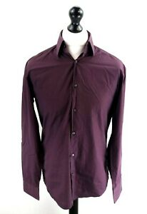 "Klassische Hemden Herrenmode Realistisch Hugo Boss Mens Shirt M Medium 39 15.5"" Purple Cotton Online Shop"