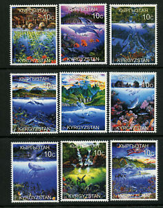 Marine-Life-Poisson-Baleines-Dauphins-Sealion-Tortue-Corail-9-MNH-Timbres